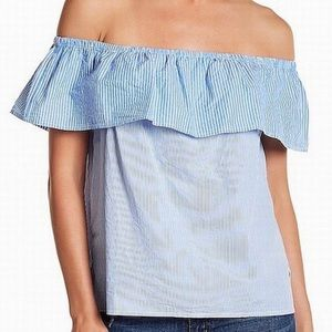 Lucky Brand Off Shoulder Blue Striped Top